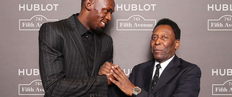 Markenbotschafter Usain Bolt und Pelé zusammen bei der Eröffnung des Hublot Flagship-Stores an der Fifth Avenue in New York City. (© Hublot)