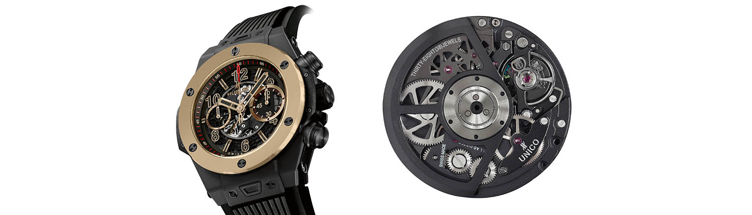 "Big Bang Unico ""Magic Gold"", die das neue Hightech-Material mit Perfektion inszeniert. (© Hublot)"