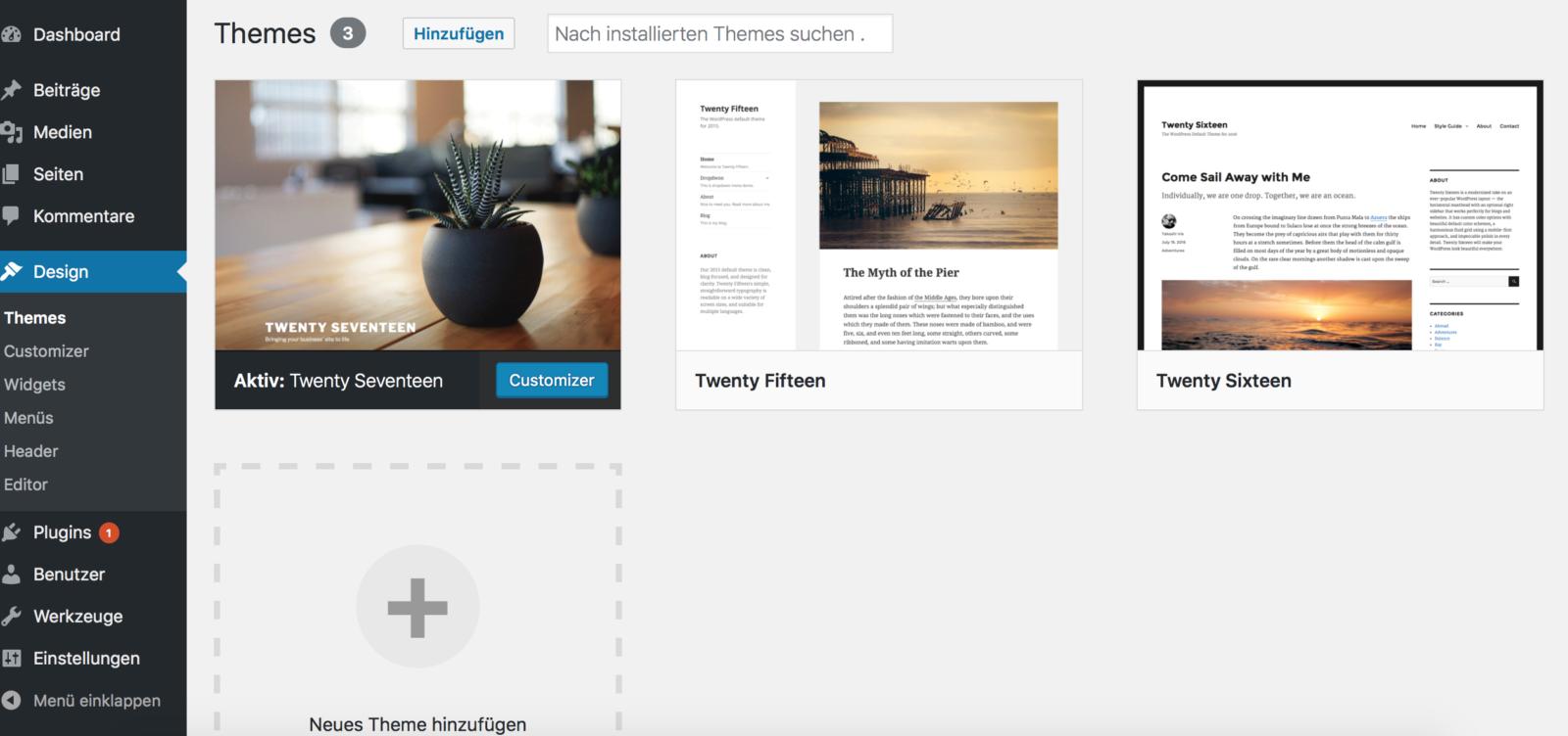 WordPress Designs und Themes anpassen