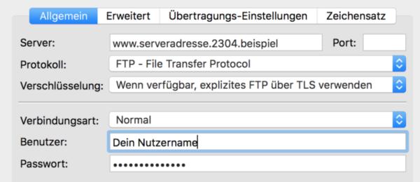 FTP Zugang bei FileZilla eintragen