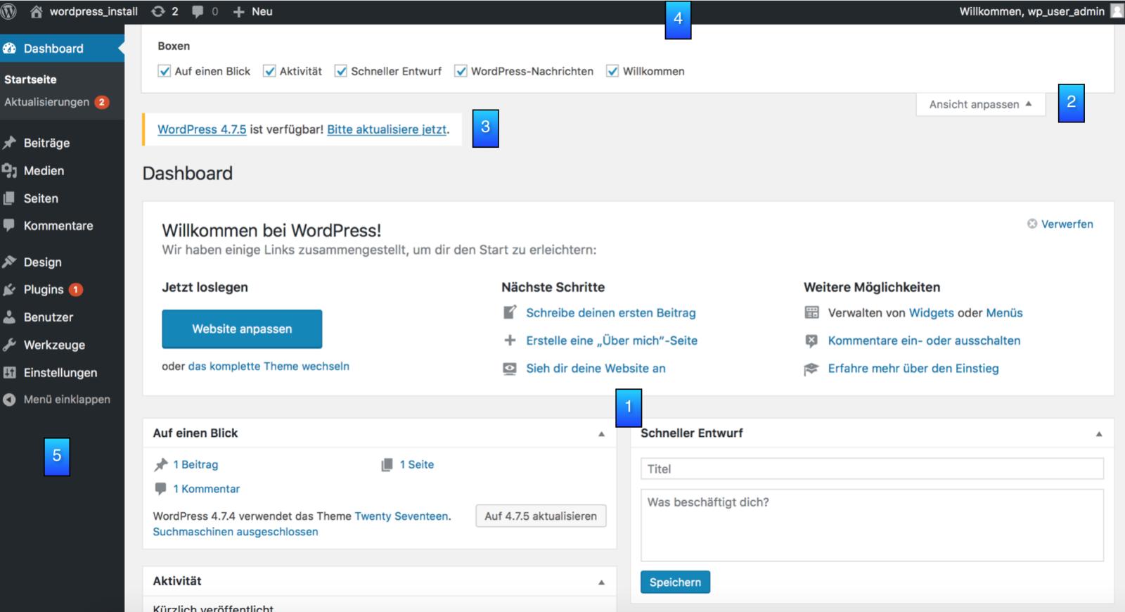 WordPress Funktionen - das Dashboard