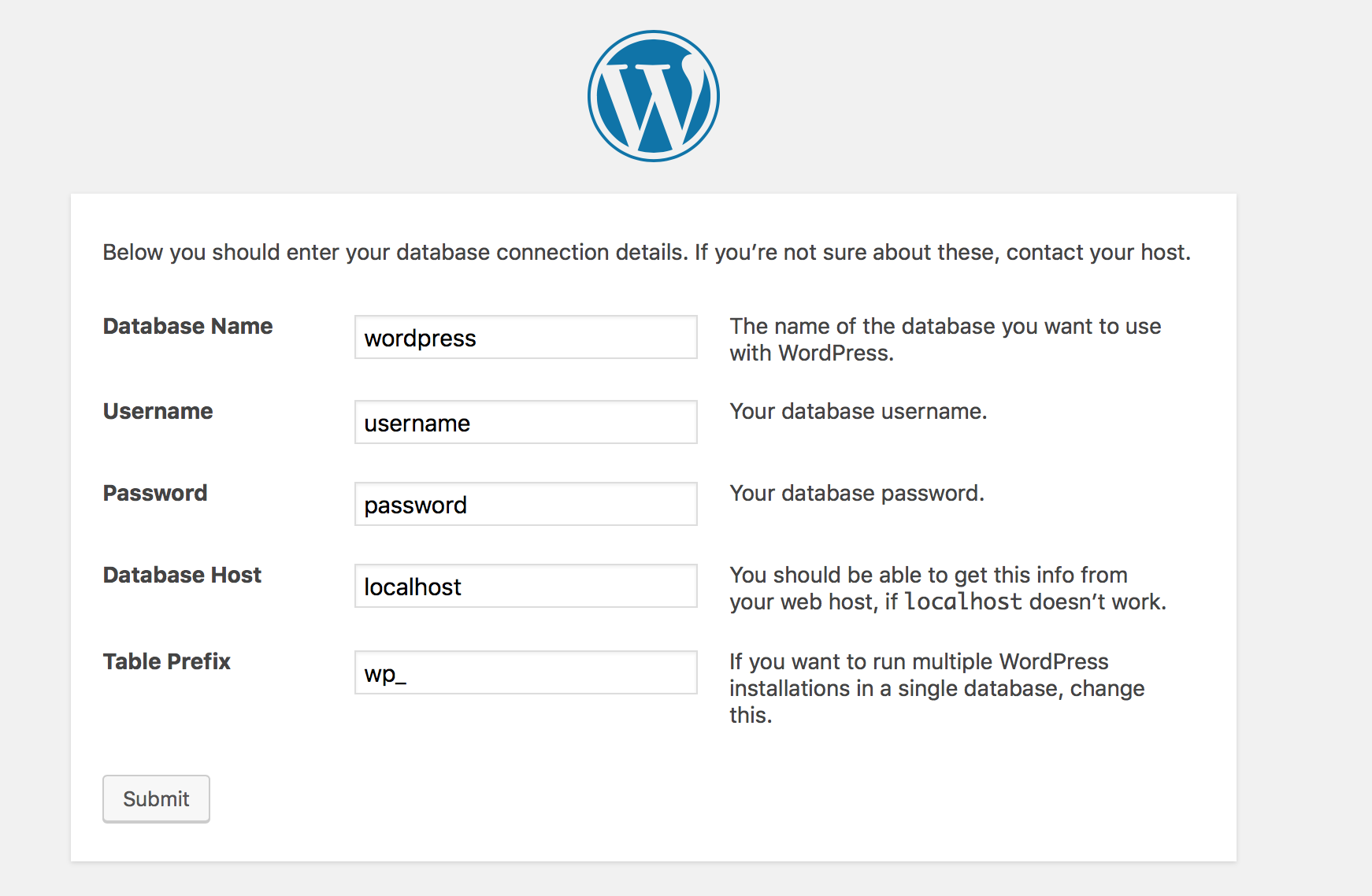WordPress-Installationsvorgang Datenbank angelegt