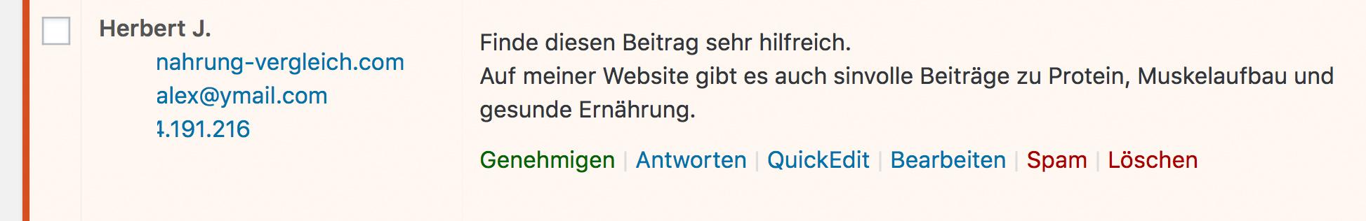 Ein klassisches Beispiel für Kommentar-Spam in WordPress