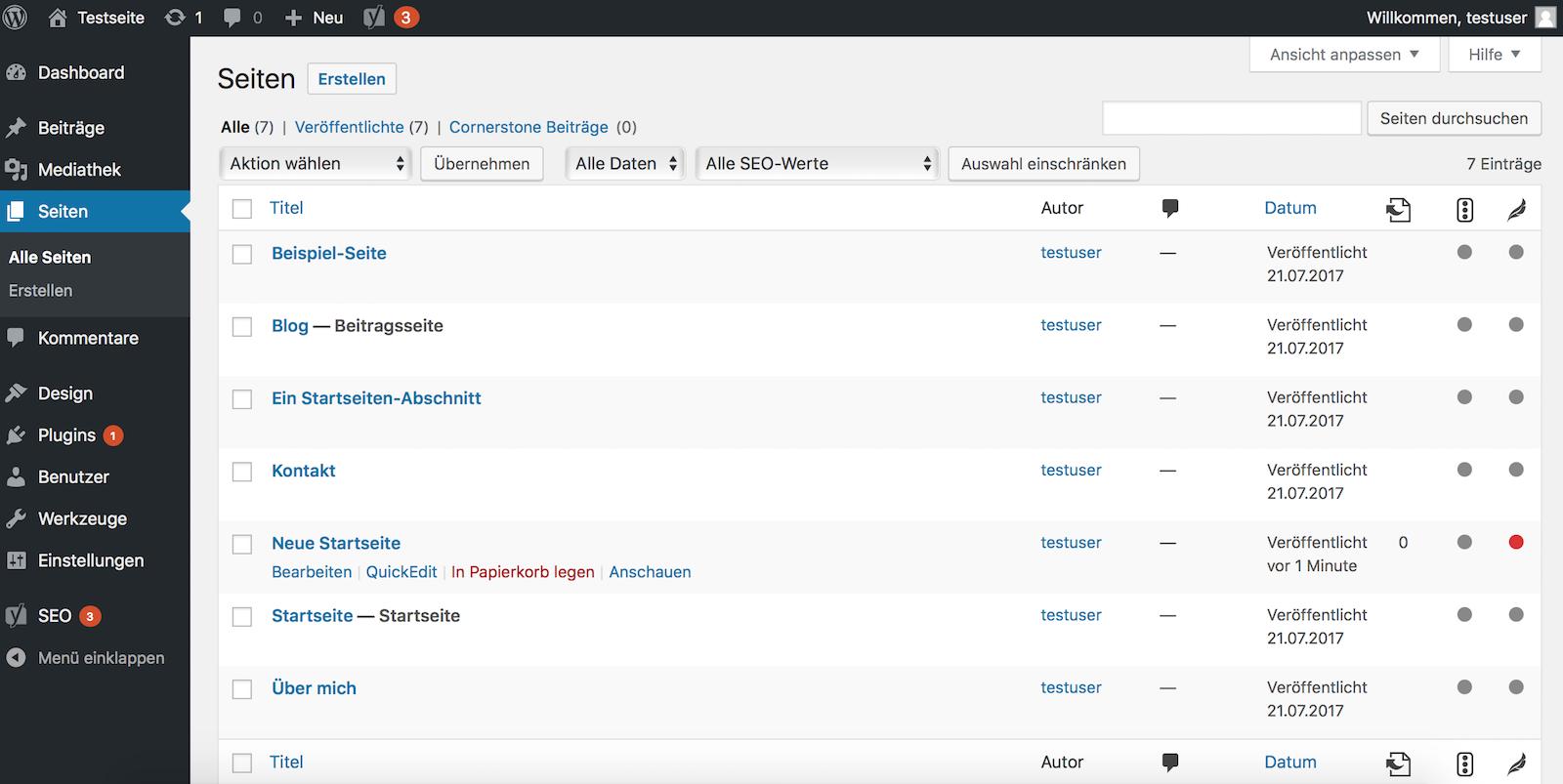 Die neue Startseite in der Seitenübersicht von WordPress