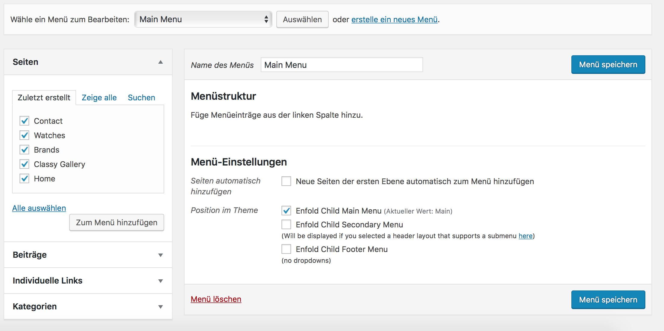 Seiten und Beiträge zu WordPress Menü hinzufügen