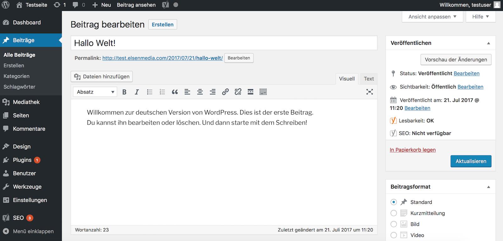 Neuen WordPress Beitrag erstellen und veröffentlichen