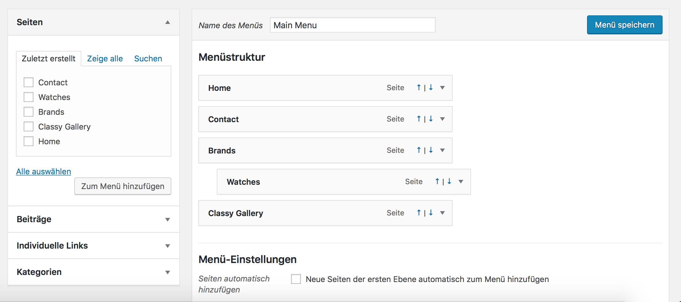 Über die Menü Funktion können Menü-Einträge einfach sortiert werden