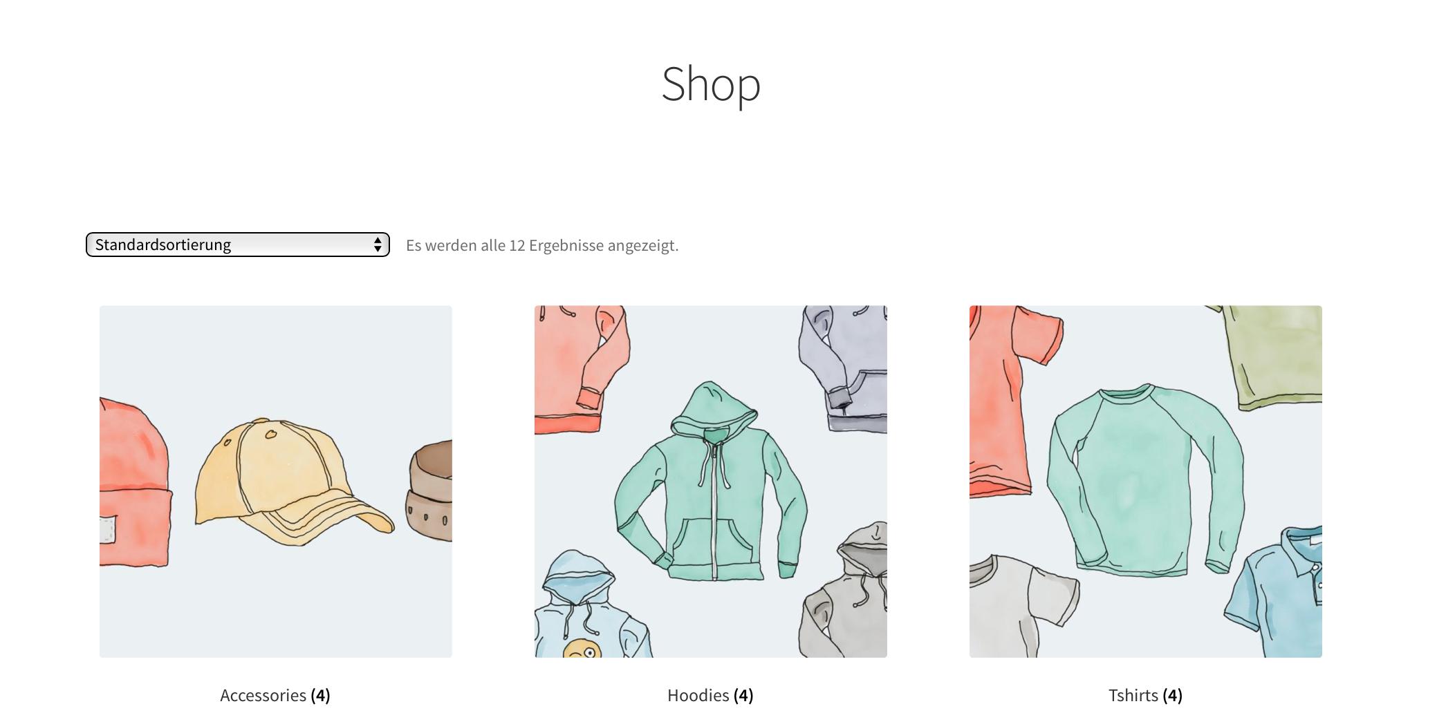 Produktkategorien in der WooCommerce Produktübersicht