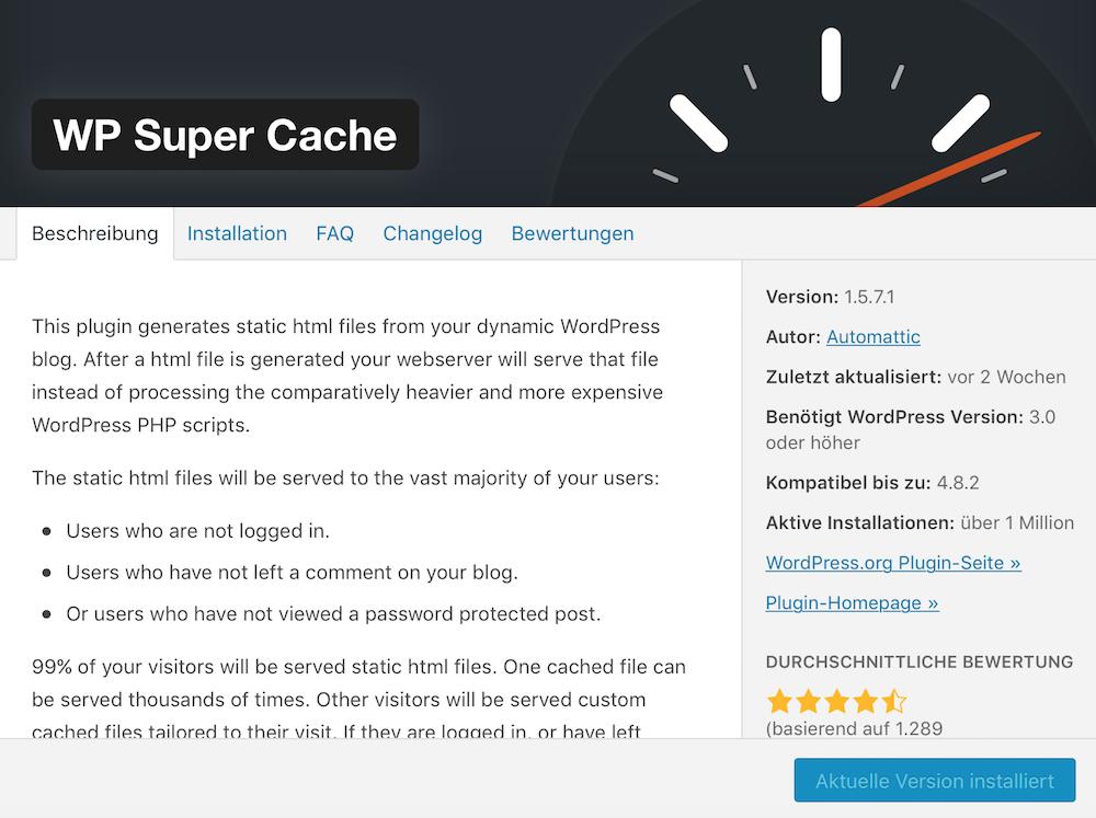 Mit WP Super Cache WordPress schneller machen
