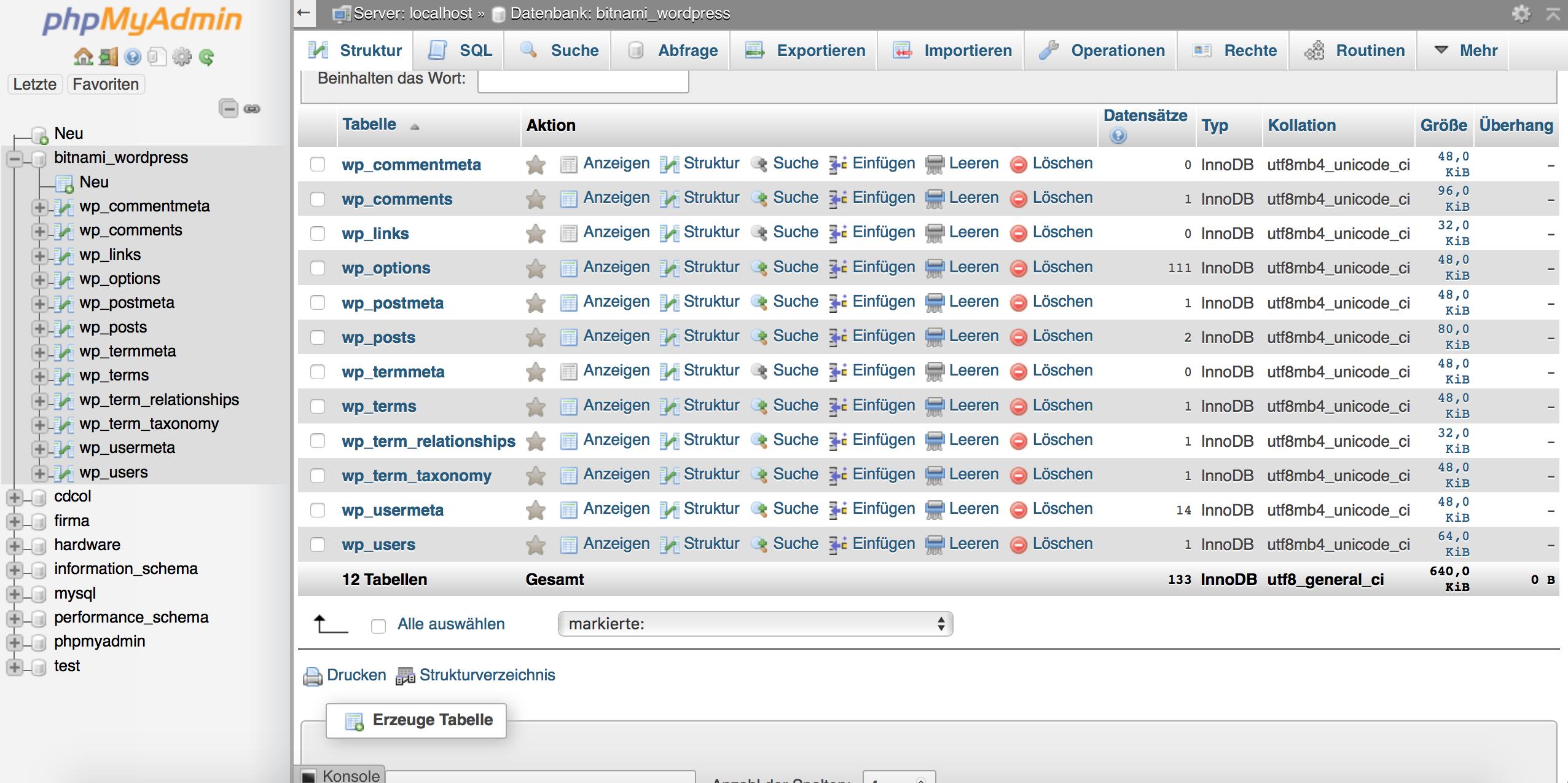 phpMyAdmin in lokaler WordPress Testumgebung