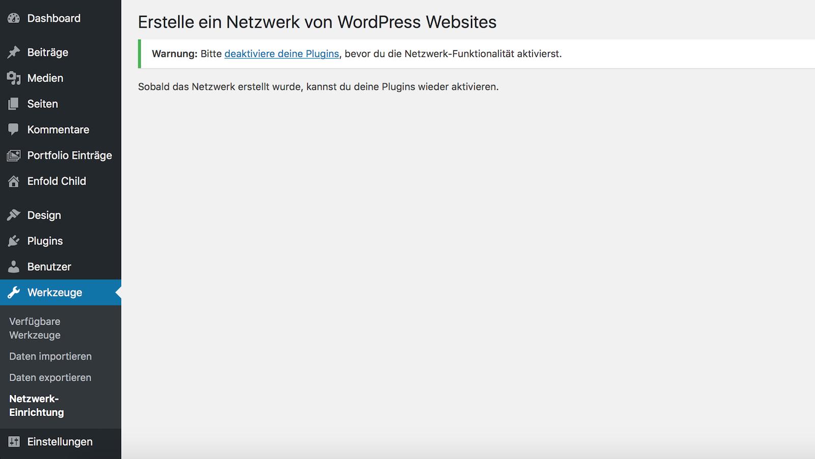WordPress Multisite Einrichtung starten