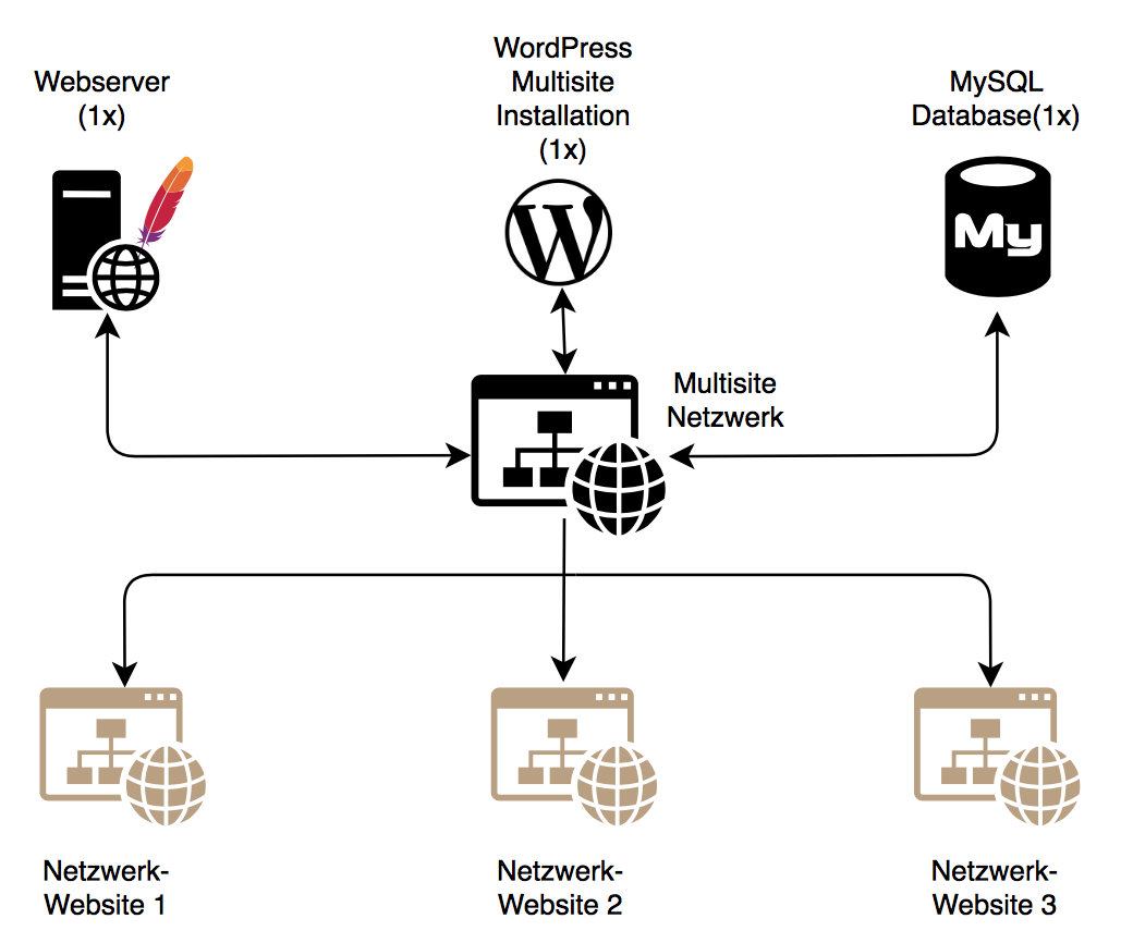 WordPress Multisite Netzwerk Funktion als Grafik