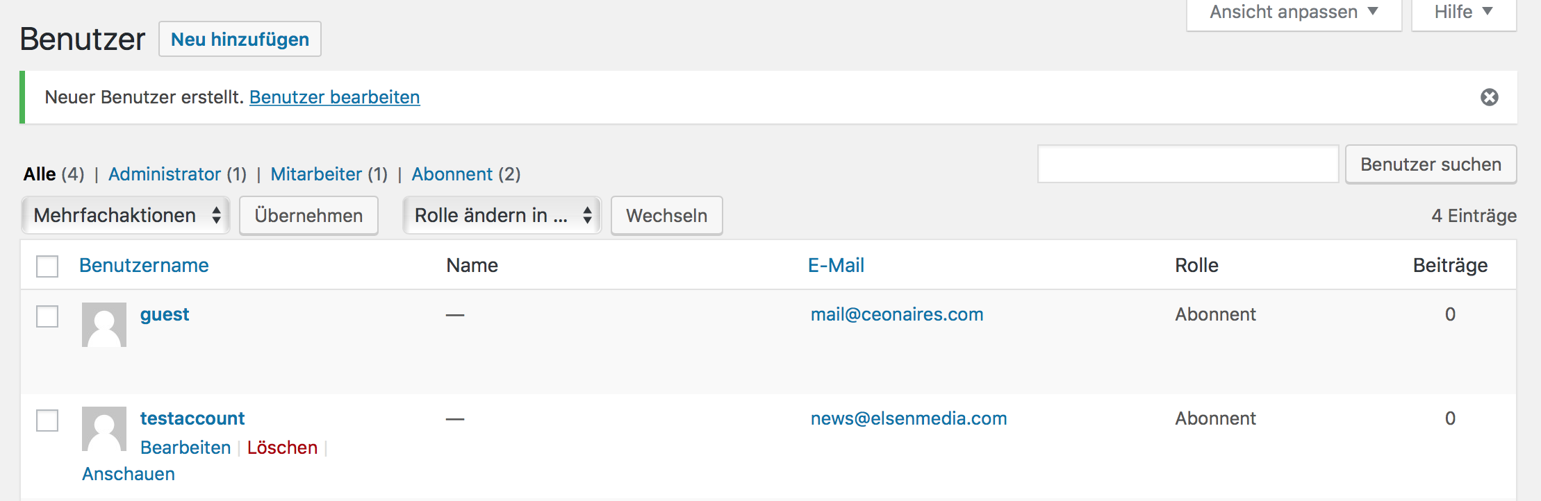 Personenbezogene Daten in WordPress manuell löschen durch Löschung des Benutzeraccounts