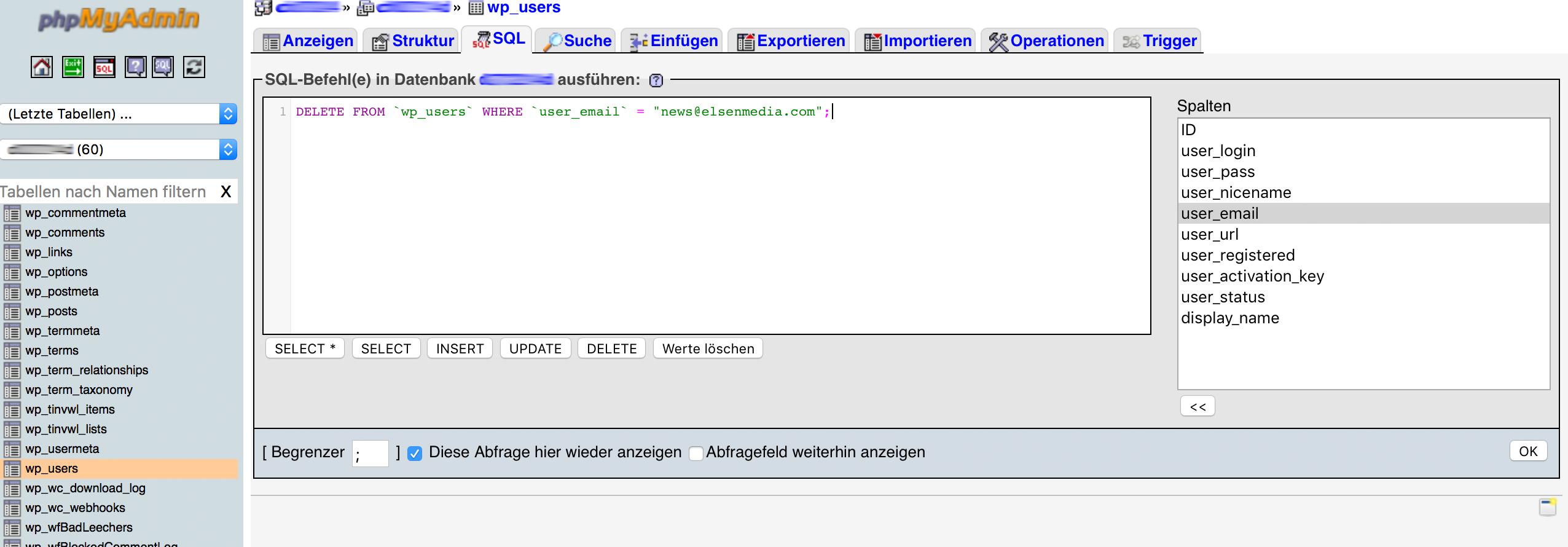 Benutzeraccount über MySQL löschen