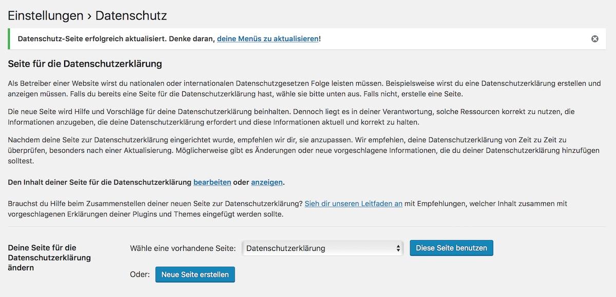 Seite für Datenschutzerklärung festlegen