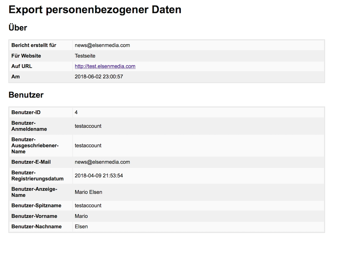 Export personenbezogener Daten in WordPress als index.html File