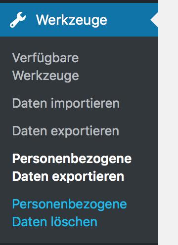Personenbezogene Daten exportieren oder löschen