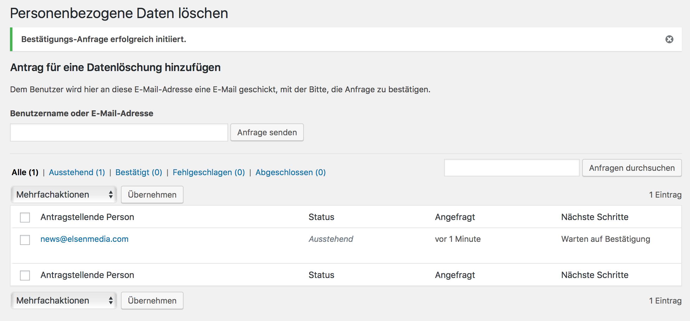 Personenbezogene Daten löschen durch WordPress DSGVO Update 4.9.6