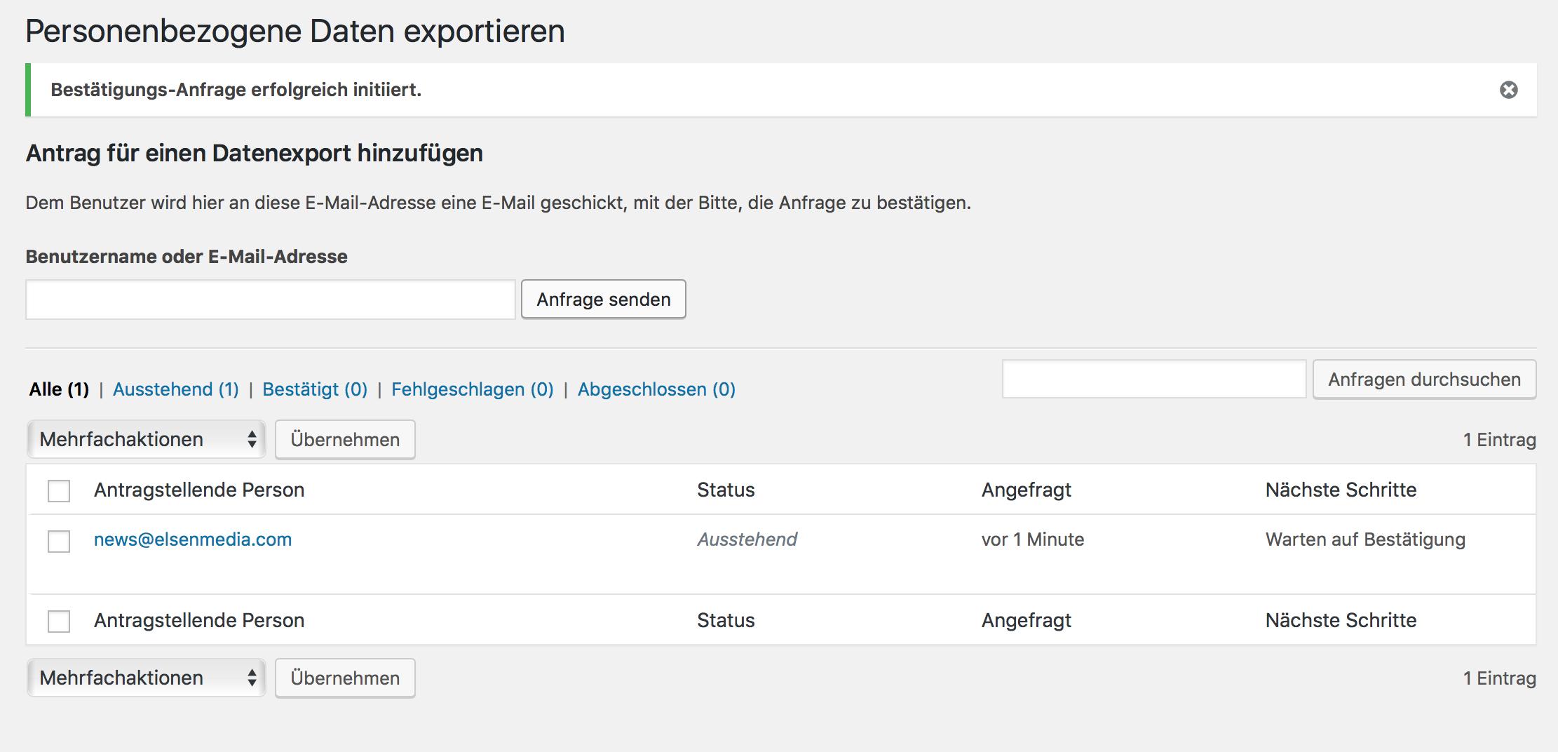 Personenbezogene Daten exportieren mit dem WordPress DSGVO Update
