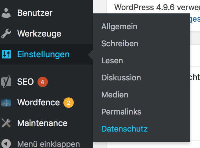 Datenschutz Optionen in WordPress bearbeiten
