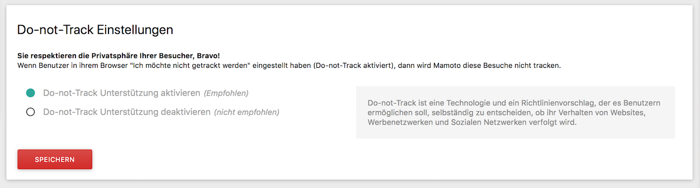 Do-not-Track Funktion in Matomo