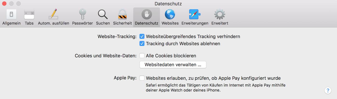"""Die """"Do-not-Track-Einstellung"""" im Safari-Webbrowser"""