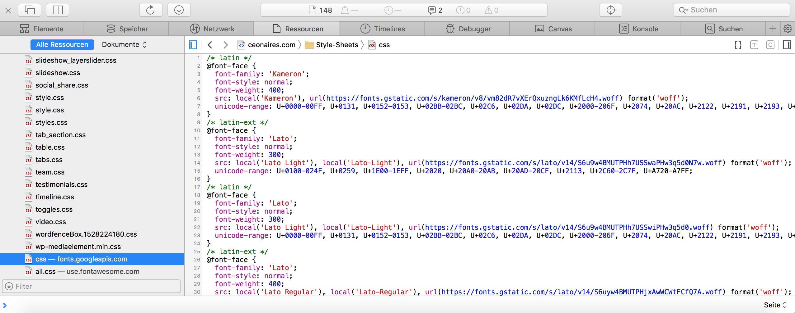 Google Fonts über Webkonsole anzeigen und identifizieren