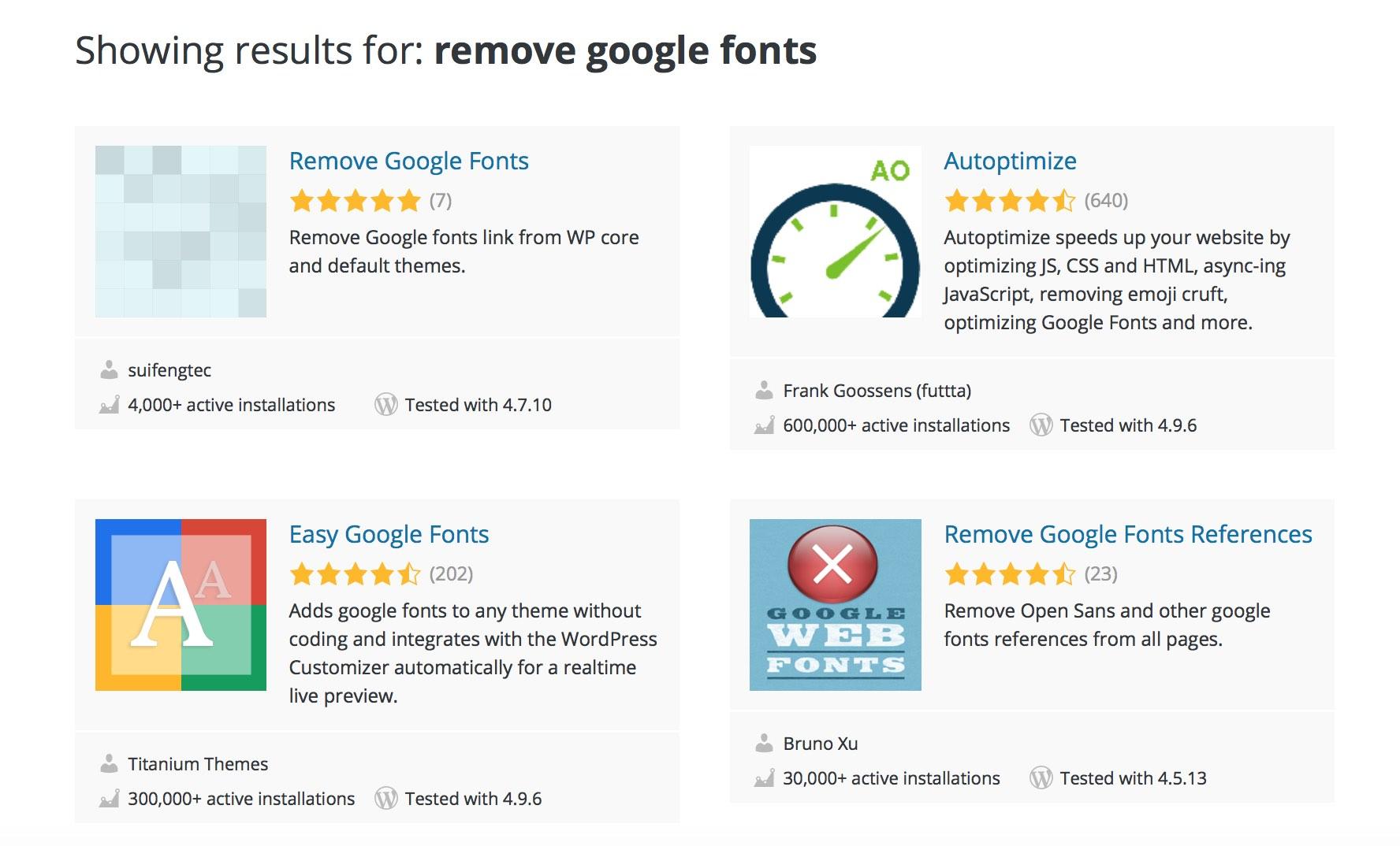 Die Google Fonts lassen sich alternativ auch mit einem WordPress-Plugin deaktivieren