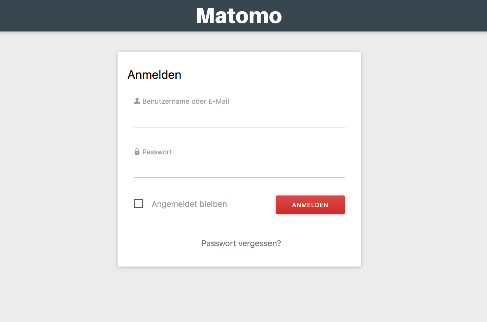 Login in das Matomo Dashboard