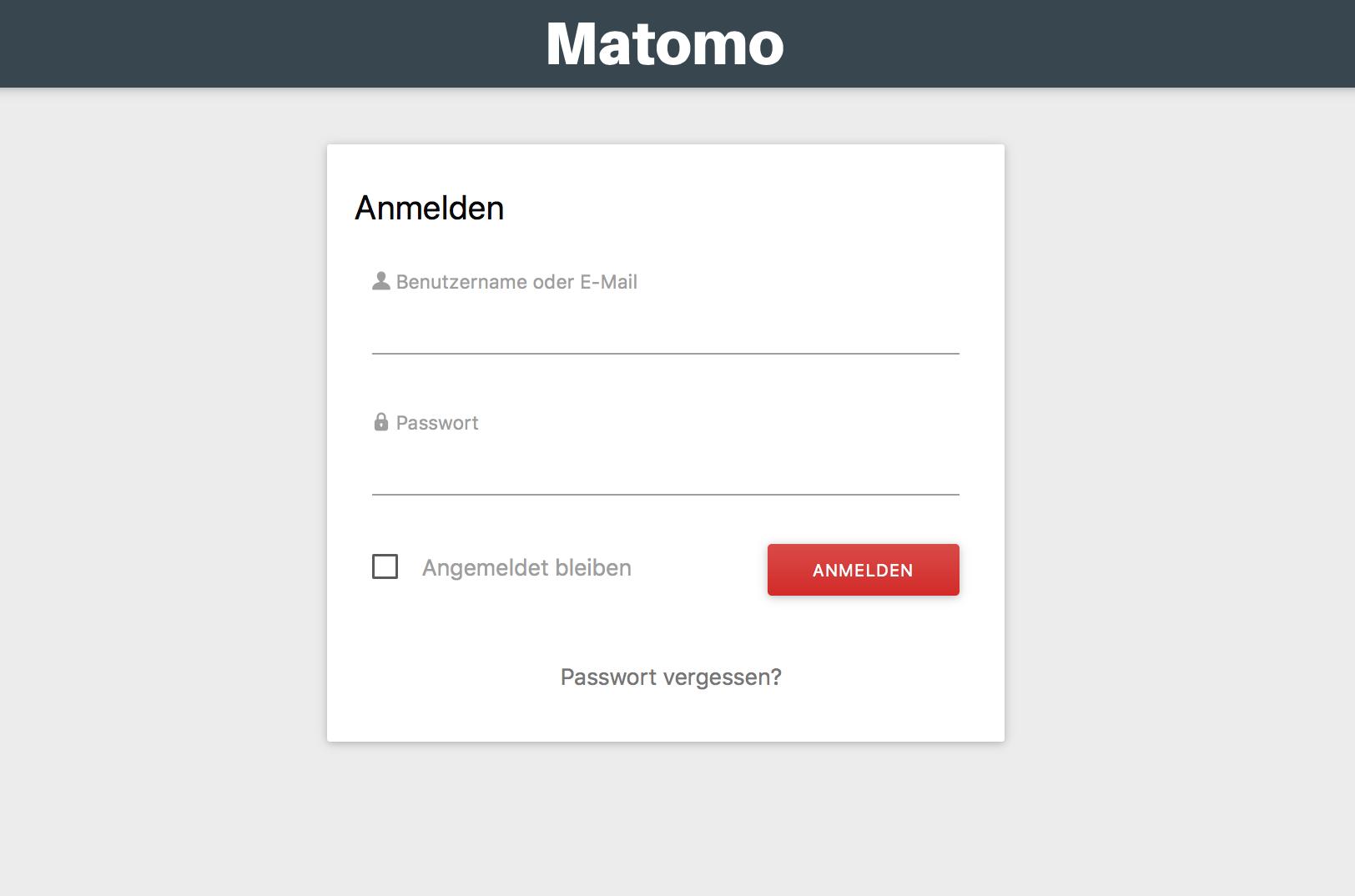 Login in das Matomo Dashboard