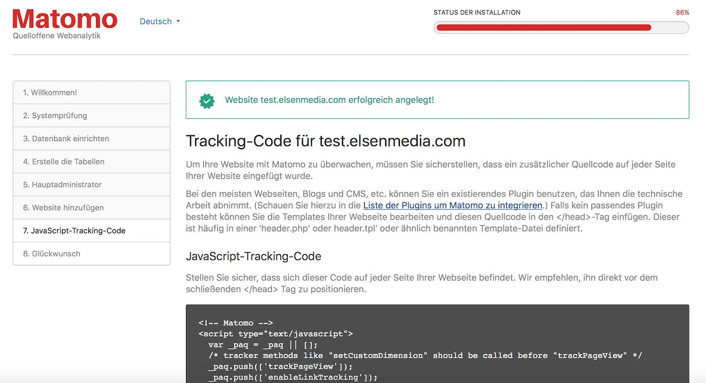 Matomo Tracking Code abrufen