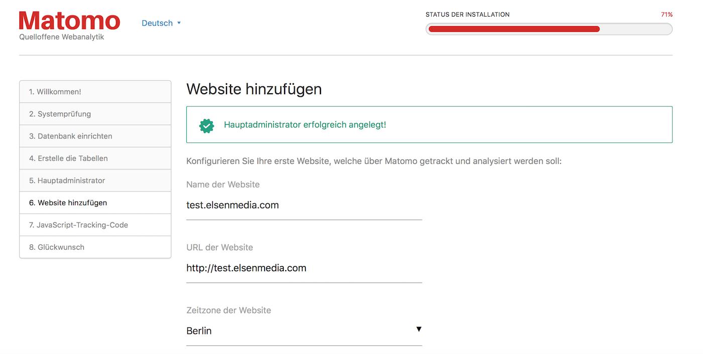 Webseite in Matomo hinzufügen