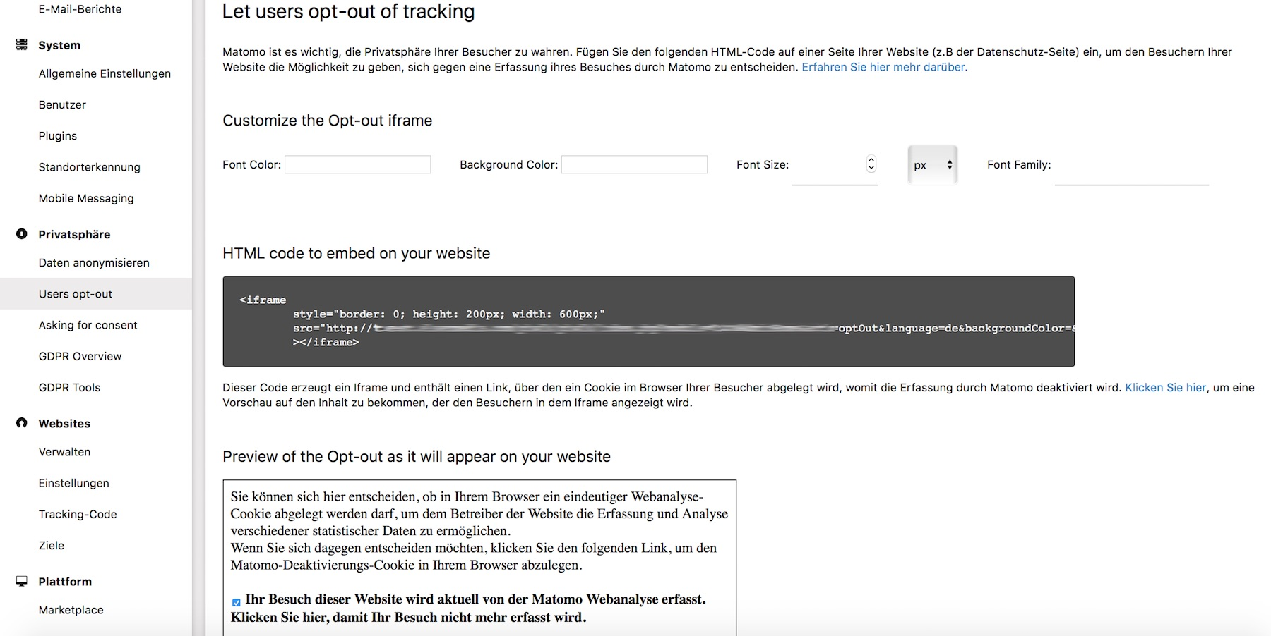 Opt-Out Funktion für Matomo Tracking Tool