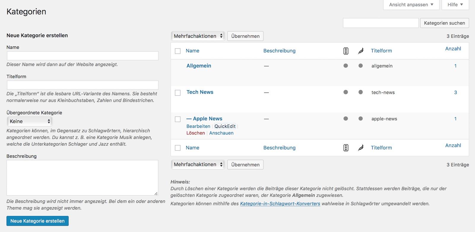 Beitragskategorien in WordPress Blog erstellen
