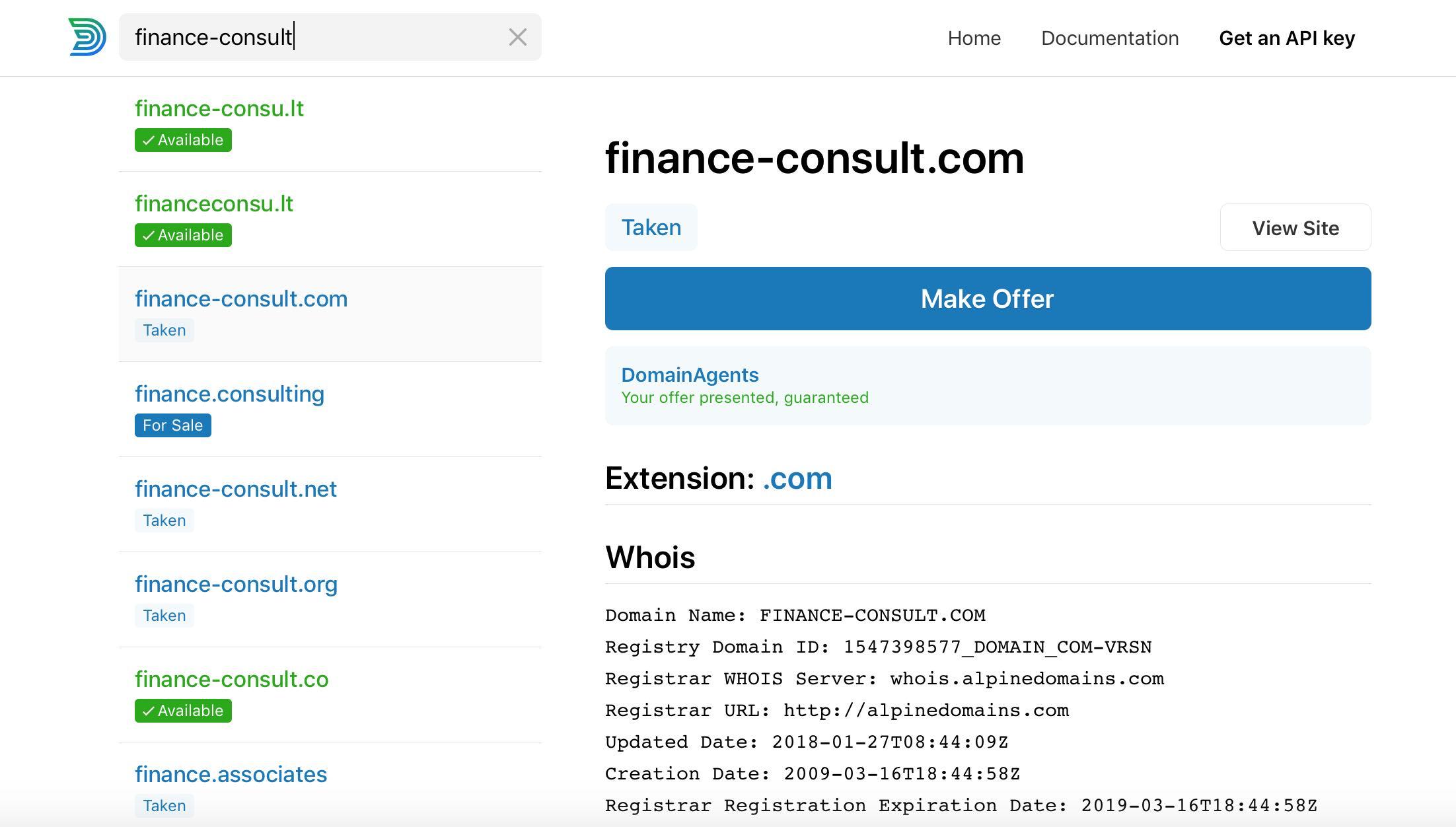 Domain der Berater Homepage überprüfen