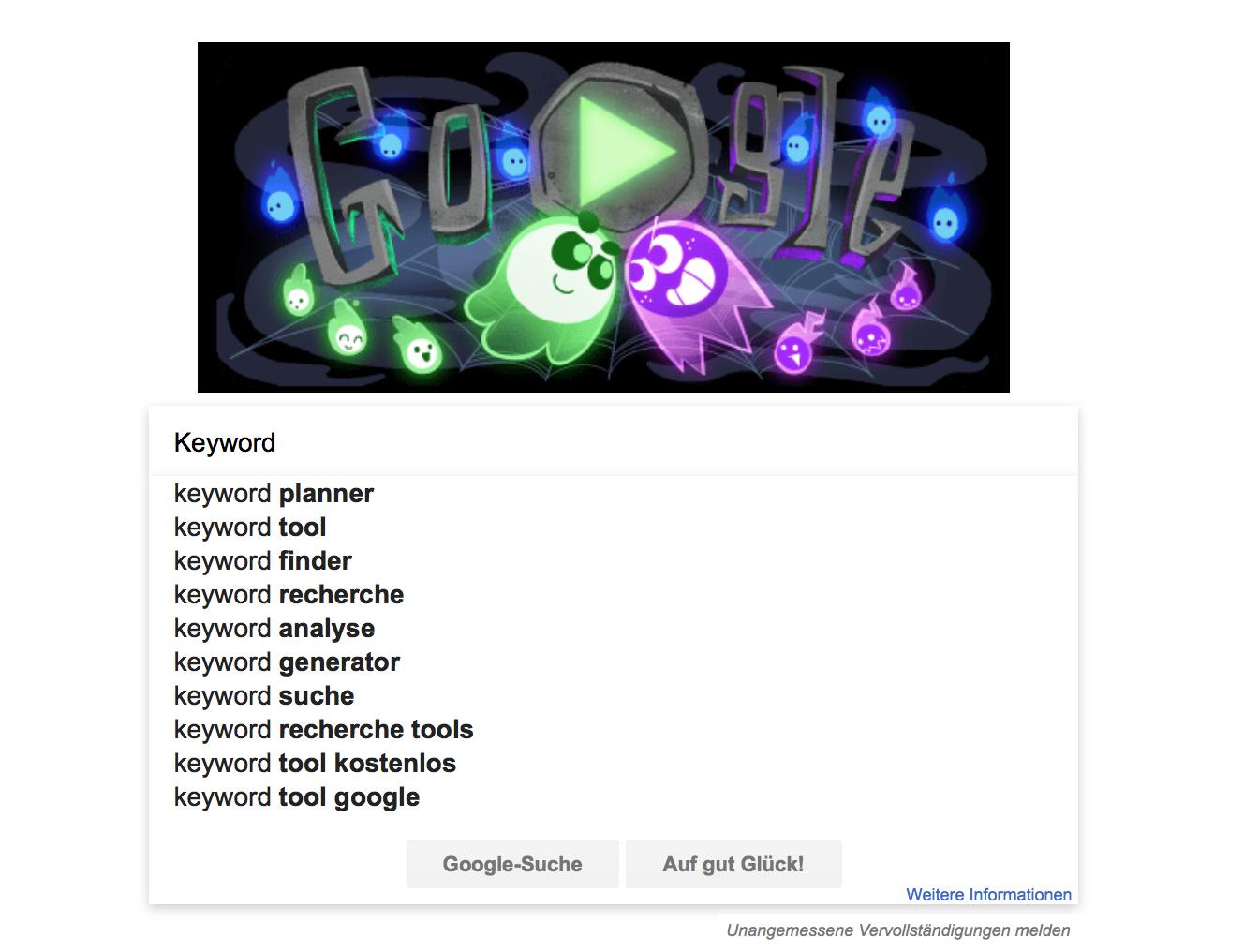 Beispiel für Google Suggest
