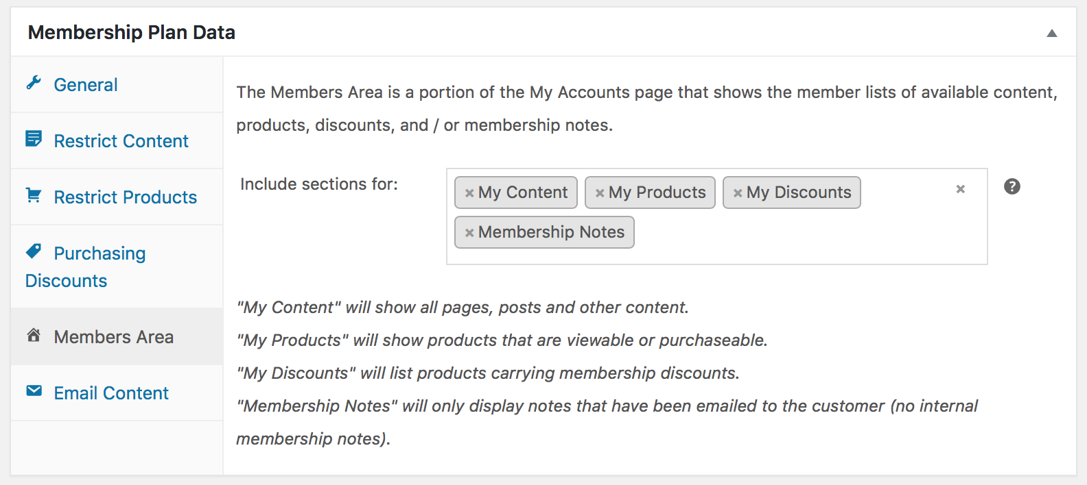 Members Area von WooCommerce