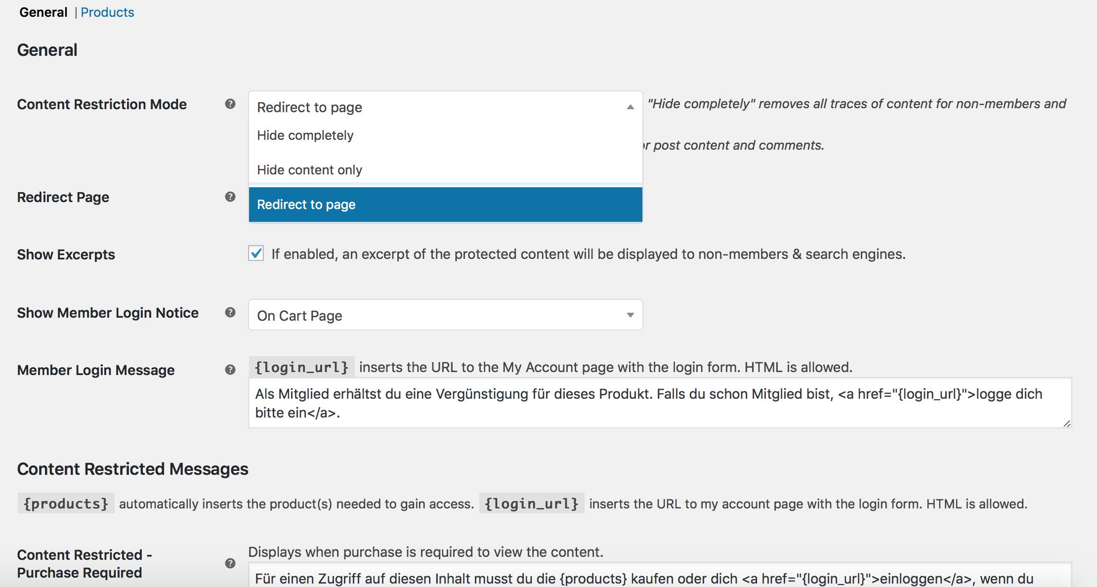 Redirect im Mitgliederbereich von WordPress