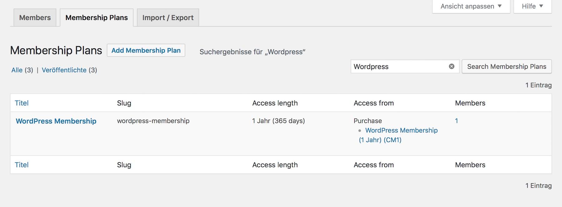 Übersicht der WordPress Mitgliedschaften