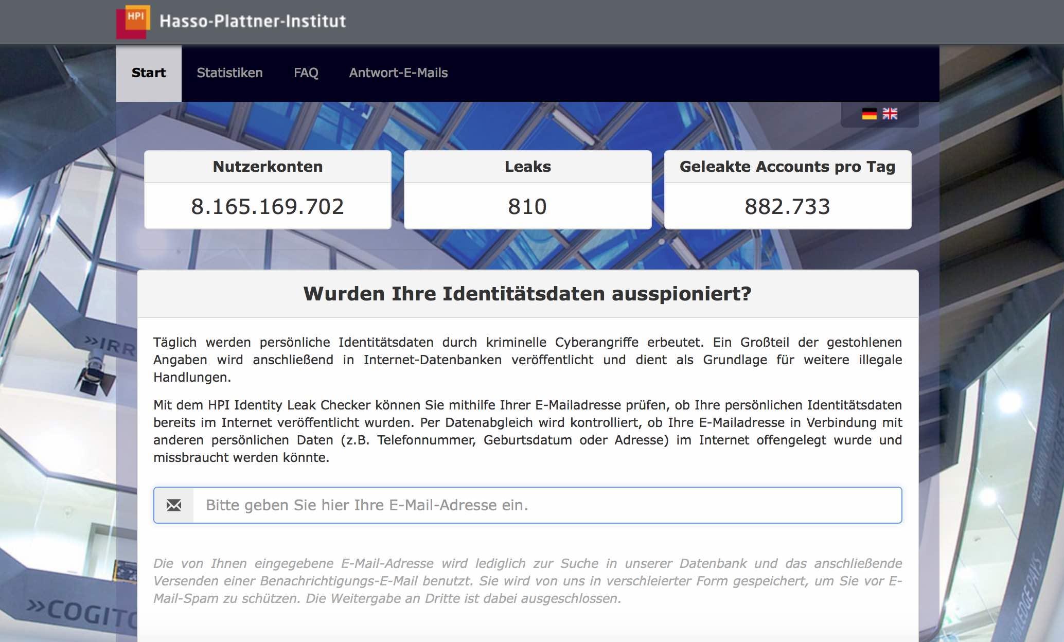 HPI-Identity-Leak-Checker von dem Hasso Plattner Institut