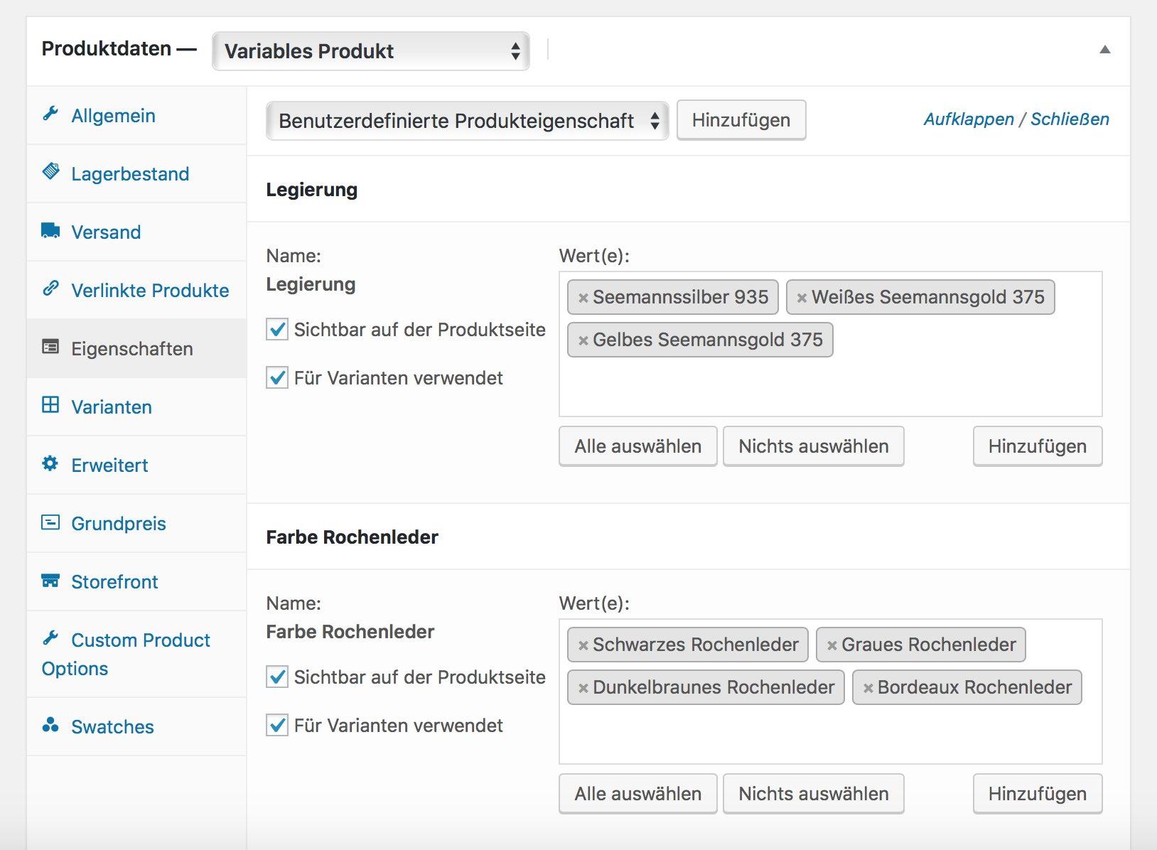Produkteigenschaften variabler Produkte in WooCommerce auswählen