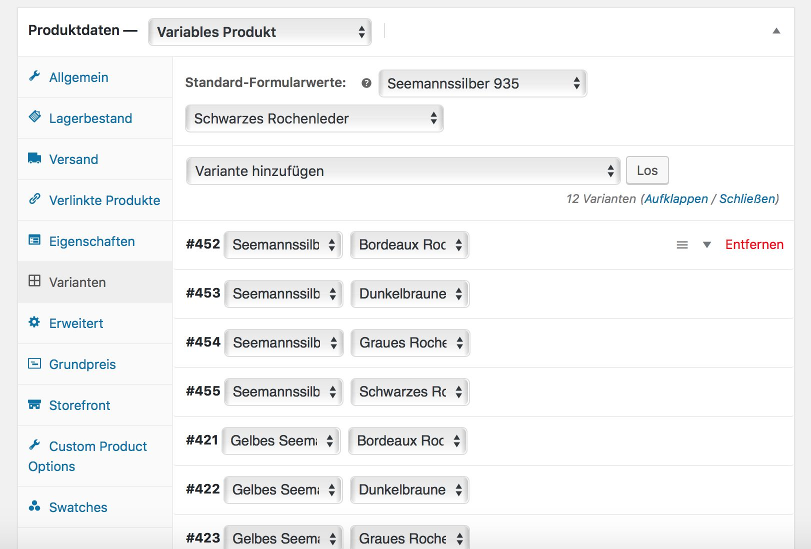 Produktvarianten für den WooCommerce Konfigurator