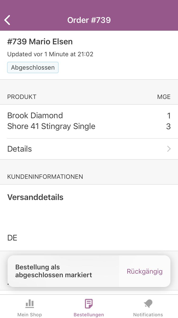 Bestellung in der WooCommerce App fertiggestellt