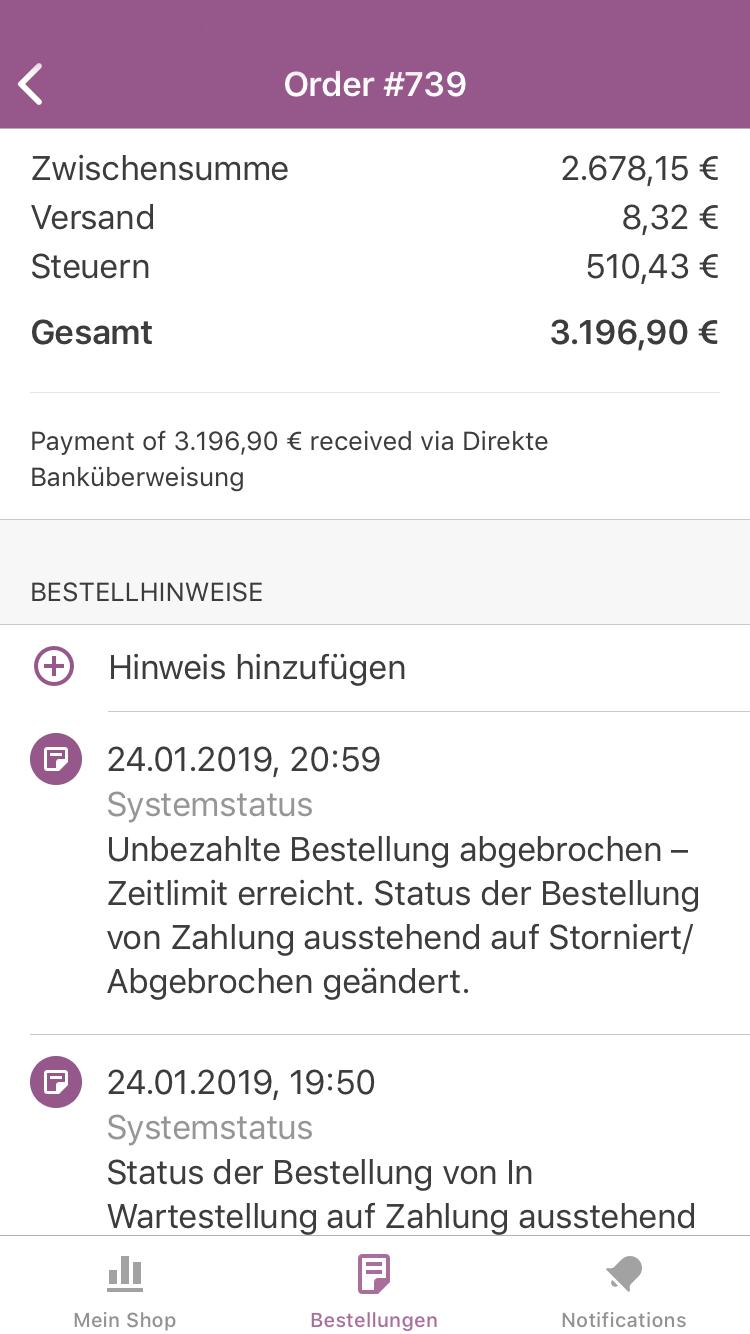 Bestelldetails in der WooCommerce App