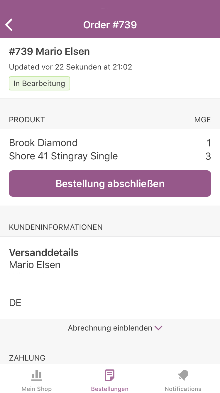 WooCommerce App Bestellung abschließen