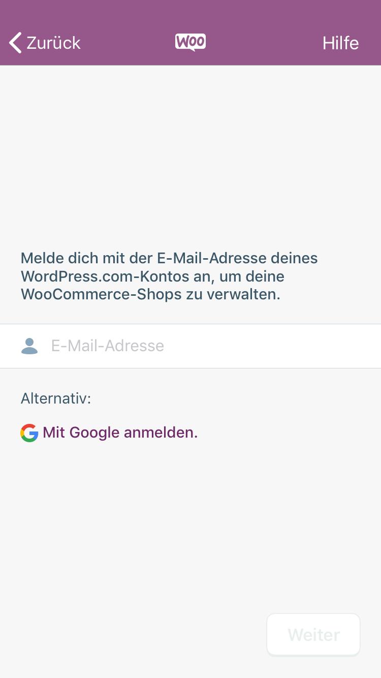 WooCommerce App anmelden