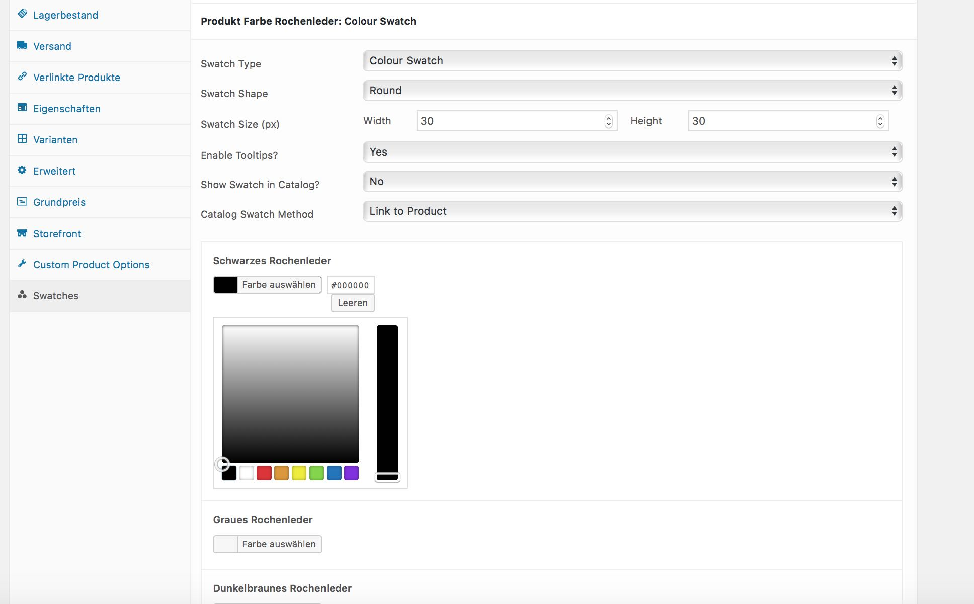 WooCommerce Image und Color Swatch für variable Produkte
