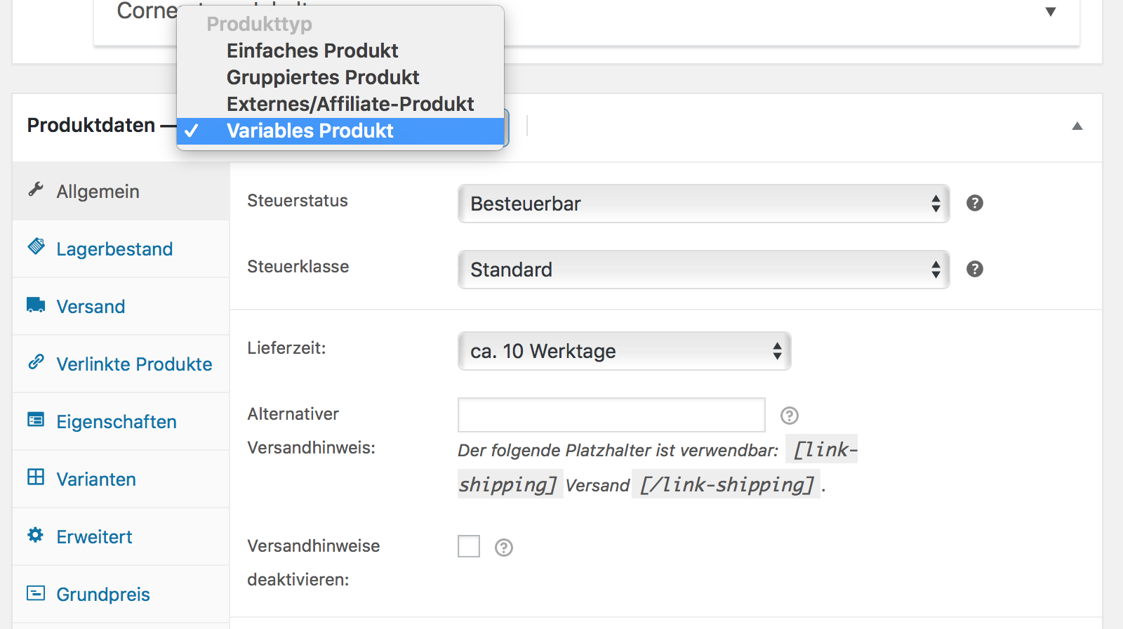 WooCommerce Variable Produkte einsetzen