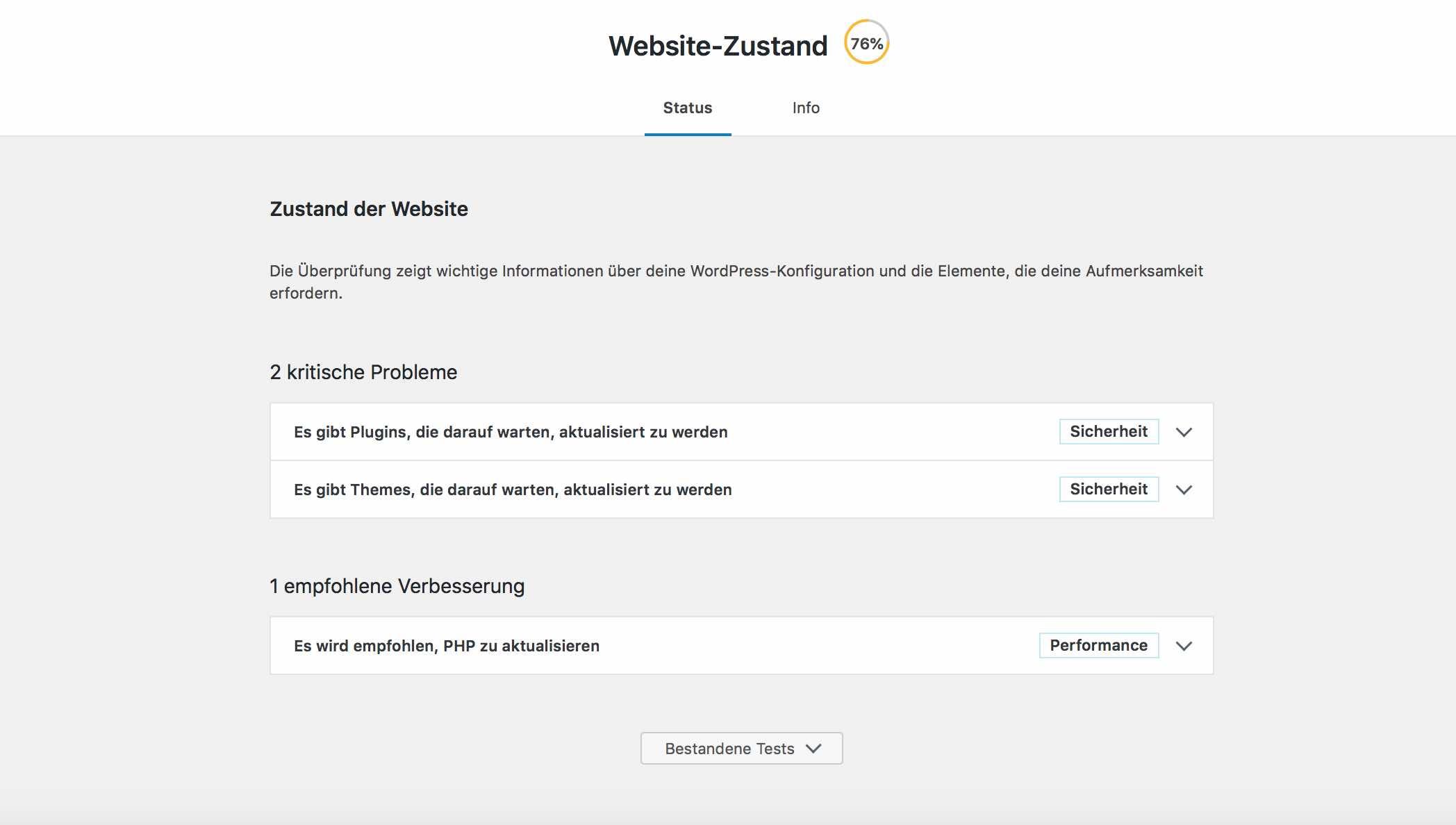 WordPress-Status Seite in WordPress 5.2