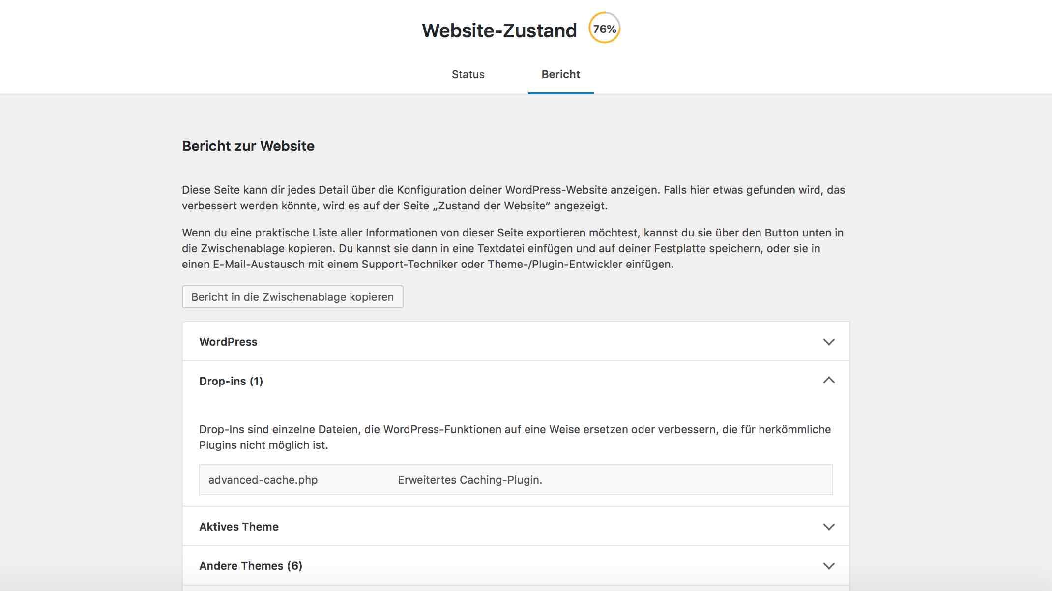 Statusbericht in WordPress 5.2